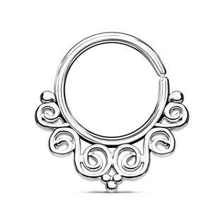 Spetum piercing do nosu/ucha kruh s ornamenty