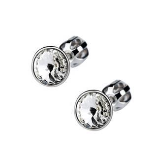 Šroubovací stříbrné náušnice s kameny Crystals from SWAROVSKI®, barva: Crystal