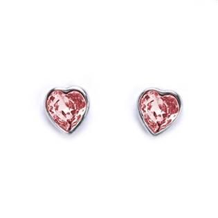 Šroubovací stříbrné náušnice se srdíčky Crystals from SWAROVSKI®, barva: LIGHT ROSE