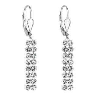 Stříbrné dlouhé náušnice visací se Swarovski krystaly