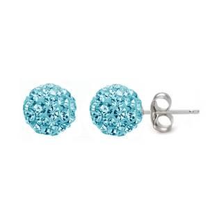Stříbrné náušnice 6mm kuličky Crystals from Swarovski® Light Aqua