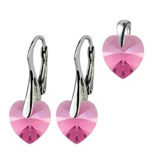 Stříbrné náušnice a přívěšek srdíčka s krystaly Crystals from Swarovski®, Pink