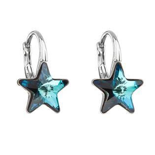 Stříbrné náušnice hvězdičky Crystals from Swarovski®, Bermuda Blue