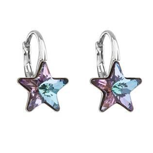 Stříbrné náušnice hvězdičky Crystals from Swarovski® Vitrail Light
