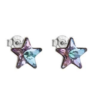 Stříbrné náušnice hvězdy s kameny Crystals from Swarovski® Vitrail Light