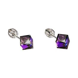 Stříbrné náušnice kostky Crystals from Swarovski® heliotrope