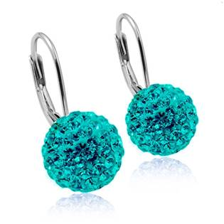 Stříbrné náušnice koule 10 mm Crystals from Swarovski® Dark Aqua