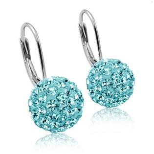 Stříbrné náušnice koule 10 mm Crystals from Swarovski® Light Aqua