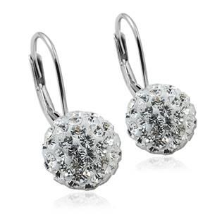 Stříbrné náušnice koule 10 mm s krystaly Crystals from Swarovski®, Crystal
