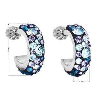 Stříbrné náušnice kruhy s krystaly Crystals from Swarovski®, Blue Style