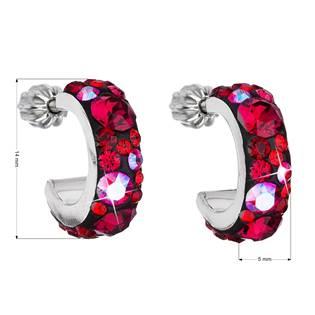 Stříbrné náušnice kruhy s krystaly Crystals from Swarovski®,  Cherry