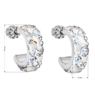 Stříbrné náušnice kruhy s krystaly Crystals from Swarovski®, Light Sapphire