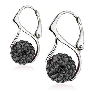 Stříbrné náušnice kuličky s krystaly Crystals from Swarovski®,  Silver Night