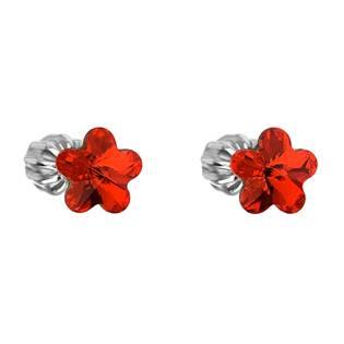Stříbrné náušnice kytičky Crystals from Swarovski® Siam