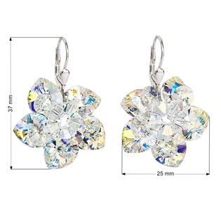 Stříbrné náušnice kytičky s krystaly Crystals From Swarovski, AB