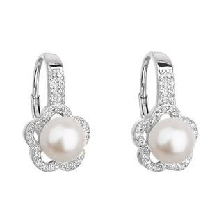Stříbrné náušnice kytičky s pravou říční perlou
