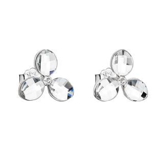 Stříbrné náušnice pecka s krystaly Swarovski bílá kytička