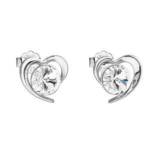 Stříbrné náušnice pecka s krystaly Swarovski bílé srdce