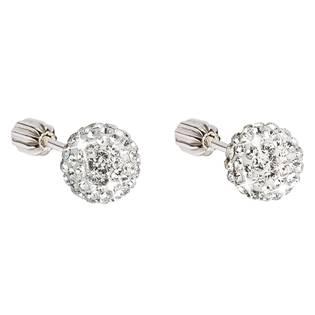 Stříbrné náušnice pecky s krystaly bílé kulaté