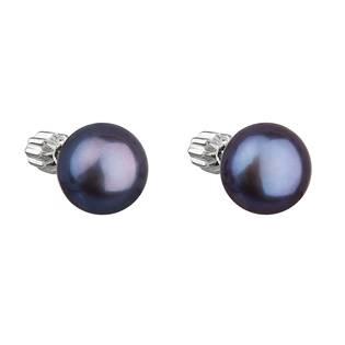 Stříbrné náušnice pecky s modrou říční perlou