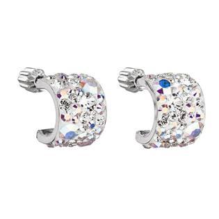 Stříbrné náušnice půlkruh s kameny Crystals from Swarovski® AB
