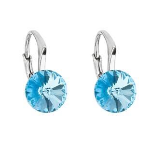 Stříbrné náušnice s Crystals from Swarovski® Aqua