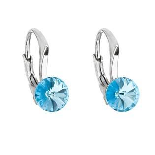 Stříbrné náušnice s Crystals from Swarovski® Aquamarine