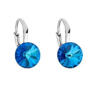 Stříbrné náušnice s Crystals from Swarovski® Bermuda Blue