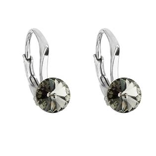 Stříbrné náušnice s Crystals from Swarovski® Black Diamond