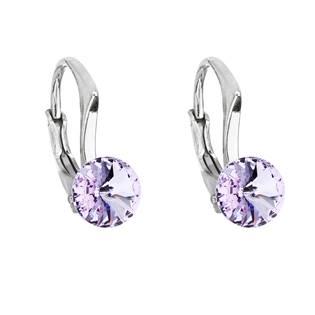 Stříbrné náušnice s Crystals from Swarovski® Violet