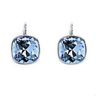 Stříbrné náušnice s kameny Crystals from Swarovski®, barva: AQUAMARINE
