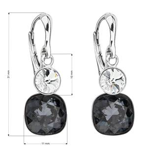 Stříbrné náušnice s kameny Crystals from Swarovski® Crystal, Graphite