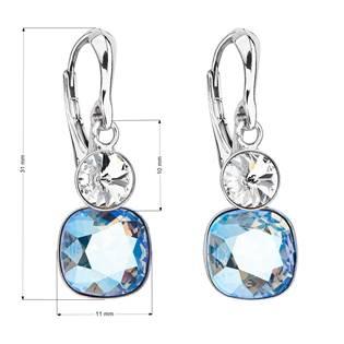 Stříbrné náušnice s kameny Crystals from Swarovski® Crystal, Light Sapphire Shimmer