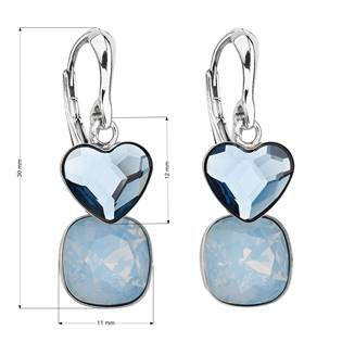 Stříbrné náušnice s kameny Crystals from Swarovski® Denim Blue, Blue Opal