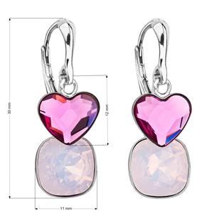 Stříbrné náušnice s kameny Crystals from Swarovski® Fuchsia, Rose Opal