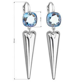 Stříbrné náušnice s kameny Crystals from Swarovski® Light Sapphire Shimmer