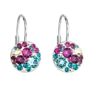 Stříbrné náušnice s kameny Crystals from Swarovski® Turquoise mix