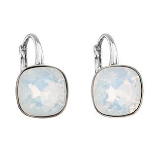 Stříbrné náušnice s kameny Crystals from Swarovski® White Opal