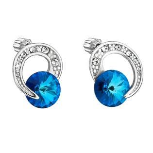Stříbrné náušnice s kamínky Crystals from Swarovski® Bermuda Blue