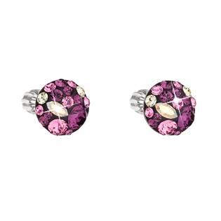 Stříbrné náušnice s krystaly Crystals from Swarovski® Amethyst