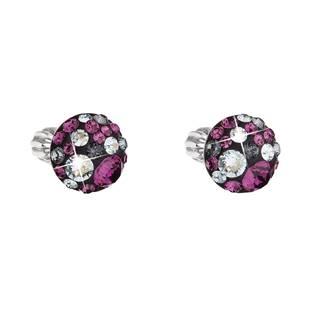 Stříbrné náušnice s krystaly Crystals from Swarovski® Dark Amethyst