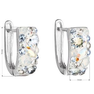 Stříbrné náušnice s krystaly Crystals from Swarovski®, Light Sapphire