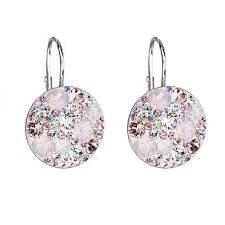 Stříbrné náušnice s krystaly Crystals from Swarovski® Magic Rose
