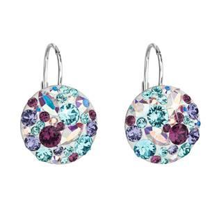 Stříbrné náušnice s krystaly Crystals from Swarovski® Turquise Mix