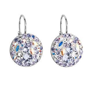 Stříbrné náušnice s krystaly Crystals from Swarovski® Violet