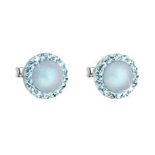 Stříbrné náušnice s perlami a kamínky Crystals from Swarovski® Aquamarine
