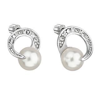 Stříbrné náušnice s perlami a kamínky Crystals from Swarovski® White