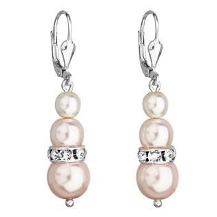 Stříbrné náušnice s perličkami Crystals from Swarovski® Rosaline