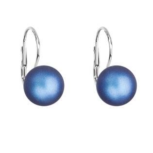 Stříbrné náušnice s perlou Crystals from Swarovski® Dark Blue
