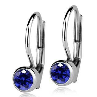 Stříbrné náušnice s tmavě modrými kamínky 4 mm